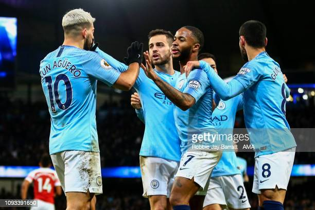 Sergio Aguero of Manchester City celebrates after scoring a goal to make it 21 during the Premier League match between Manchester City and Arsenal FC...