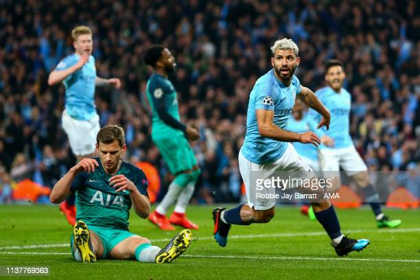 Sergio Aguero of Manchester City celebrates after scoring a goal to make it 4-2 during the UEFA Champions League Quarter Final second leg match...