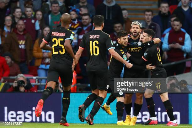 Sergio Aguero of Manchester City celebrates after scoring a goal to make it 10 during the Carabao Cup Final match between Aston Villa and Manchester...
