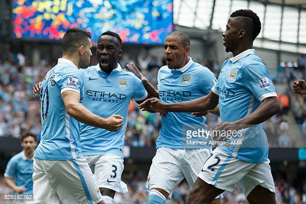 Sergio Aguero of Manchester City celebrates after scoring a goal to make it 10 during the Barclays Premier League match between Manchester City and...