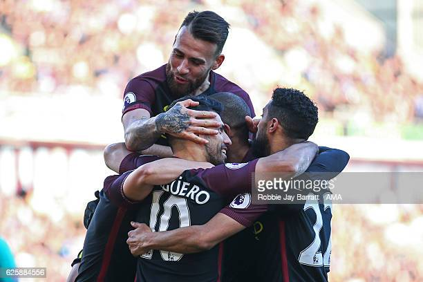 Sergio Aguero of Manchester City celebrates after scoring a goal to make it 12 during the Premier League match between Burnley and Manchester City at...