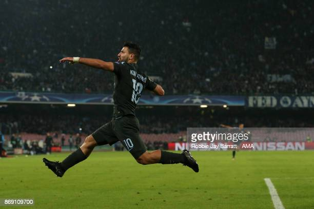 Sergio Aguero of Manchester City celebrates after scoring a goal to make it 23 during the UEFA Champions League group F match between SSC Napoli and...