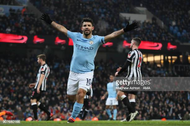 Sergio Aguero of Manchester City celebrates after scoring a goal to make it 10 during the Premier League match between Manchester City and Newcastle...