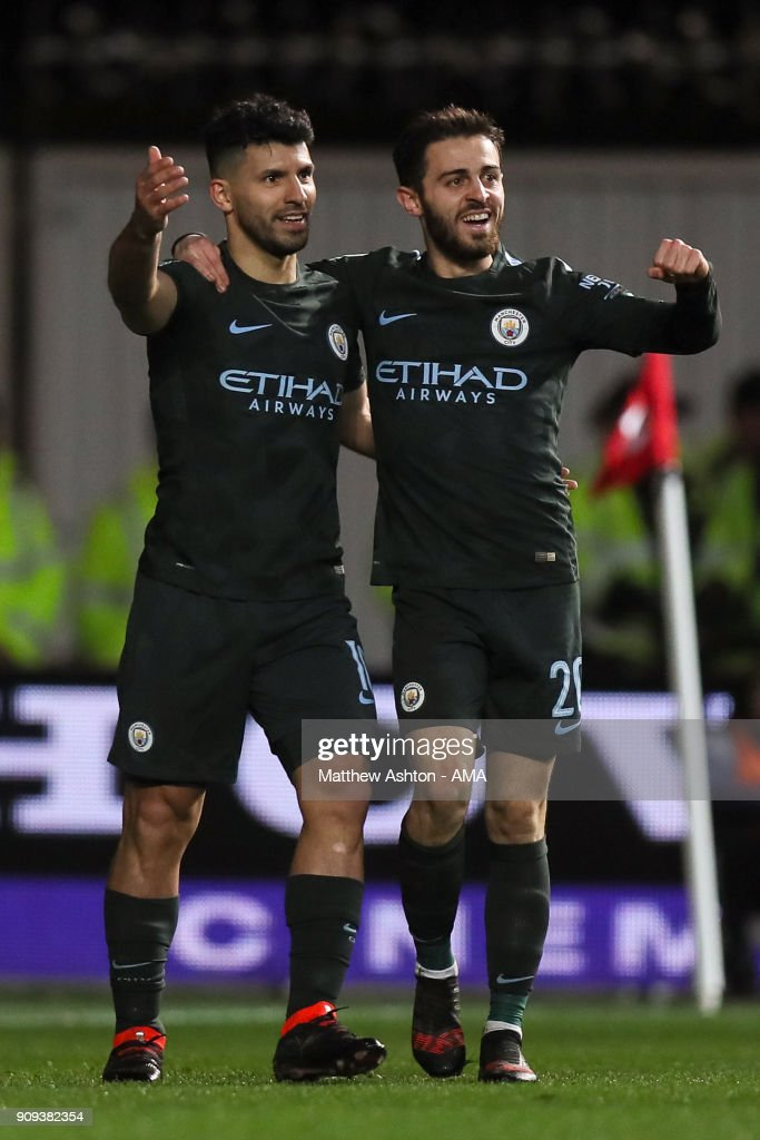 Sergio Aguero of Manchester City celebrates after scoring a goal to make it 0-2 during the Carabao Cup Semi-Final: Second Leg between Bristol City and Manchester City at Ashton Gate on January 23, 2018 in Bristol, England.