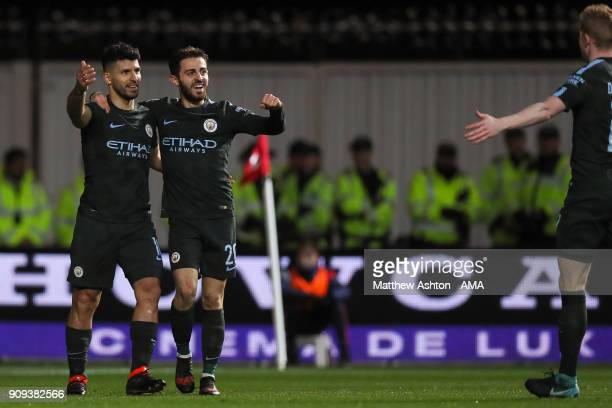 Sergio Aguero of Manchester City celebrates after scoring a goal to make it 02 during the Carabao Cup SemiFinal Second Leg between Bristol City and...