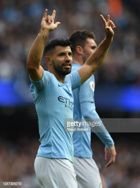 Sergio Aguero of Manchester City celebrates after scoring during the Premier League match between Manchester City and Burnley FC at Etihad Stadium on...