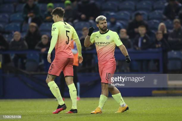 Sergio Aguero of Manchester City celebrates after scoring during the FA Cup Fifth Road match between Sheffield Wednesday and Manchester City at...