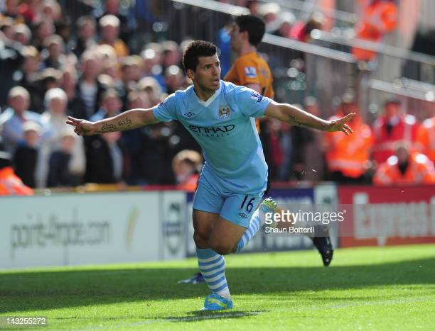 Sergio Aguero of Manchester City celebrates after scoring during the Barclays Premier League match between Wolverhampton Wanderers and Manchester...