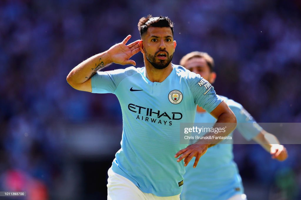 Sergio Aguero of Manchester City celebrates after scoring his sides first goal during the FA Community Shield match between Manchester City and Chelsea at Wembley Stadium on August 5, 2018 in London, England.