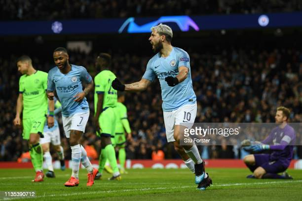 Sergio Aguero of Manchester City celebrates after scoring his sides second goal during the UEFA Champions League Round of 16 Second Leg match between...