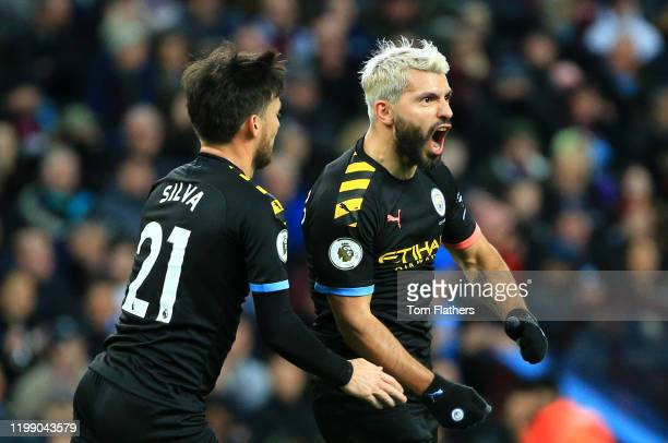 Sergio Aguero of Manchester CIty celebrates after scoring his sides third goal during the Premier League match between Aston Villa and Manchester...