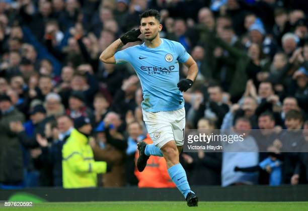 Sergio Aguero of Manchester City celebrates after scoring his sides first goal during the Premier League match between Manchester City and AFC...