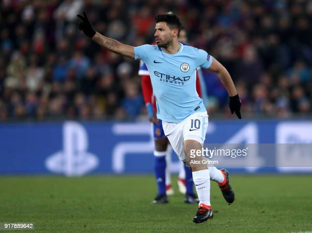 Sergio Aguero of Manchester City celebrates after scoring his sides third goal during the UEFA Champions League Round of 16 First Leg match between...