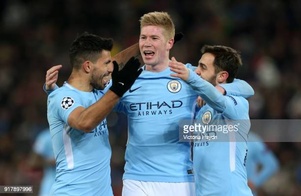 Sergio Aguero of Manchester City celebrates after scoring his sides third goal with Kevin De Bruyne of Manchester City and Bernardo Silva of...
