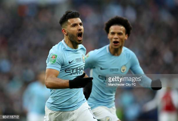 Sergio Aguero of Manchester City celebrates after scoring his sides first goal during the Carabao Cup Final between the Arsenal and Manchester City...