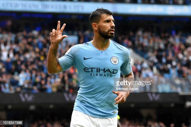 Sergio Aguero of Manchester City celebrates after scoring his team's fifth goal during the Premier League match between Manchester City and...