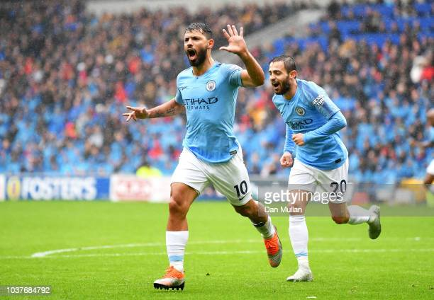 Manchester City's Leroy Sane crosses into the box during the Premier League match between Cardiff City and Manchester City at Cardiff City Stadium on...