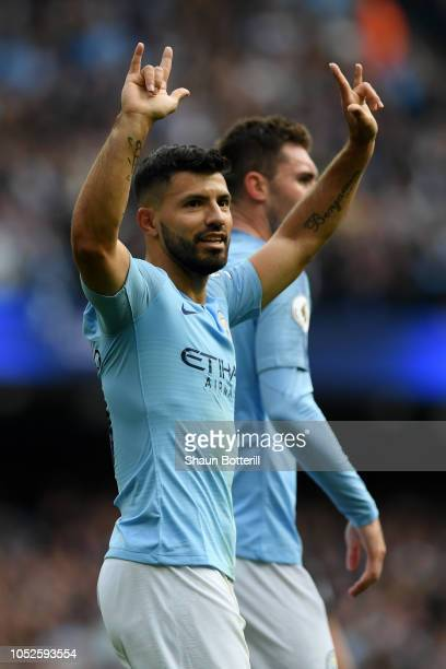 Sergio Aguero of Manchester City celebrates after scoring his team's first goal during the Premier League match between Manchester City and Burnley...