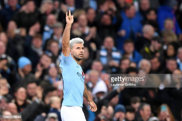 Sergio Aguero of Manchester City celebrates after scoring his team's second goal during the Premier League match between Manchester City and...