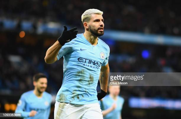 Sergio Aguero of Manchester City celebrates after scoring his team's first goal during the Premier League match between Manchester City and Arsenal...