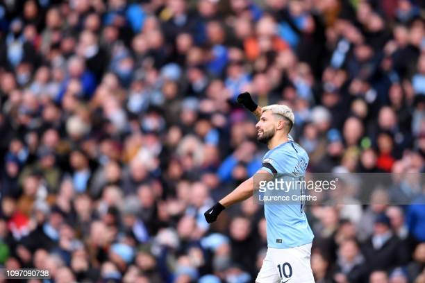 Sergio Aguero of Manchester City celebrates after scoring his team's third goal during the Premier League match between Manchester City and Chelsea...