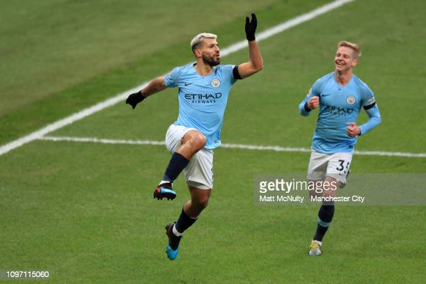 Sergio Aguero of Manchester City celebrates after scoring his team's second goal during the Premier League match between Manchester City and Chelsea...