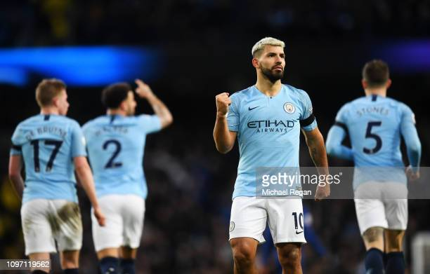 Sergio Aguero of Manchester City celebrates after scoring his team's fifth goal during the Premier League match between Manchester City and Chelsea...