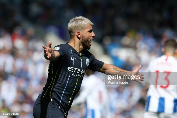 Sergio Aguero of Manchester City celebrates after scoring his team's first goal during the Premier League match between Brighton Hove Albion and...