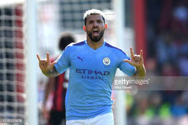 Sergio Aguero of Manchester City celebrates after scoring his team's third goal during the Premier League match between AFC Bournemouth and...