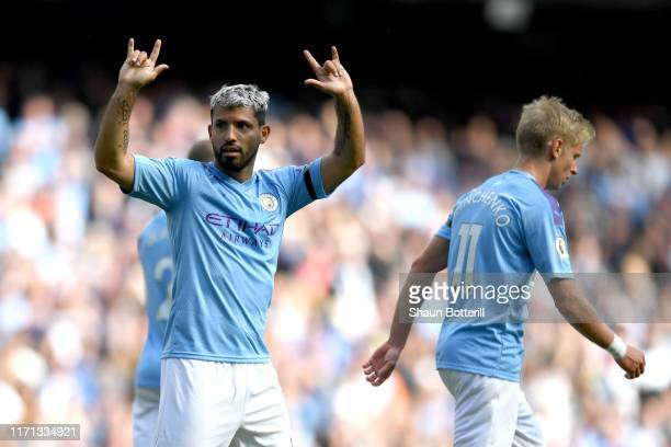 Sergio Aguero of Manchester City celebrates after scoring his team's third goal during the Premier League match between Manchester City and Brighton...