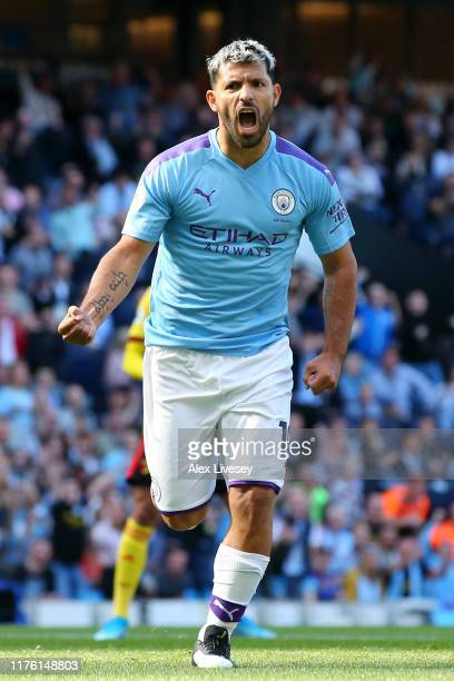 Sergio Aguero of Manchester City celebrates after scoring his team's second goal during the Premier League match between Manchester City and Watford...