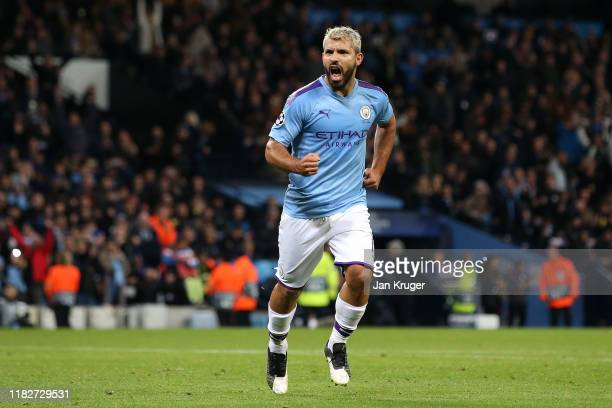 Sergio Aguero of Manchester City celebrates after scoring his team's second goal during the UEFA Champions League group C match between Manchester...