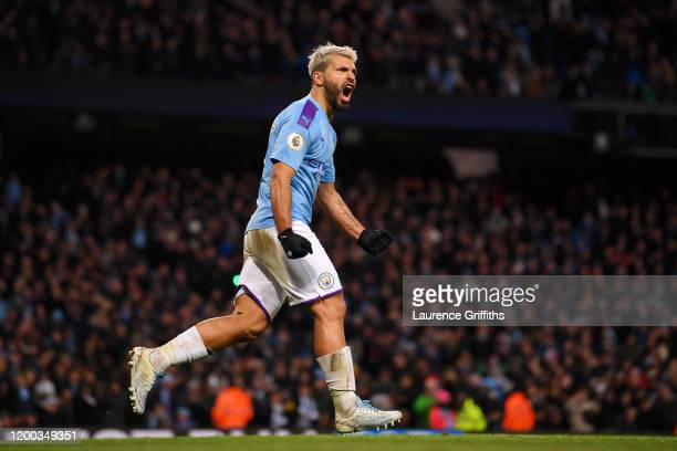 Sergio Aguero of Manchester City celebrates after scoring his team's first goal during the Premier League match between Manchester City and Crystal...