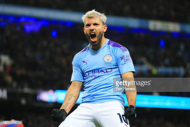 Sergio Aguero of Manchester City celebrates after scoring his team's second goal during the Premier League match between Manchester City and Crystal...