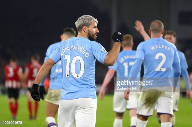 Sergio Aguero of Manchester City celebrates after scoring his team's first goal during the Premier League match between Sheffield United and...