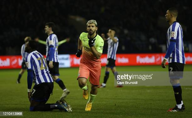 Sergio Aguero of Manchester City celebrates after scoring his team's first goal during the FA Cup Fifth Round match between Sheffield Wednesday and...
