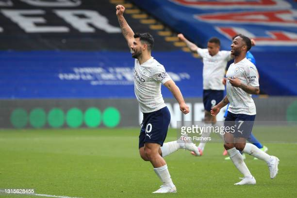 Sergio Aguero of Manchester City celebrates after scoring his team's first goal during the Premier League match between Crystal Palace and Manchester...