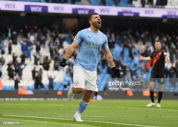 Sergio Aguero of Manchester City celebrates after scoring his team's fifth goal during the Premier League match between Manchester City and Everton...