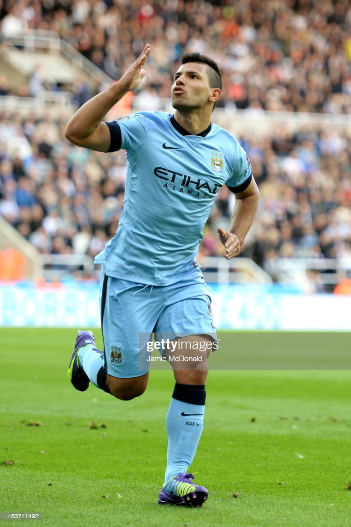 Sergio Aguero of Manchester City celebrates after scoring his team's second goal during the Barclays Premier League match between Newcastle United and Manchester City at St James' Park on August 17, 2014 in Newcastle upon Tyne, England.