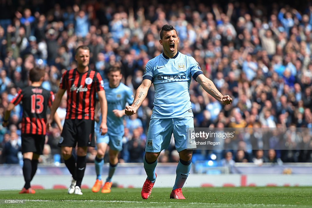 Sergio Aguero of Manchester City celebrates after scoring his team's fourth goal from the penalty spot during the Barclays Premier League match between Manchester City and Queens Park Rangers at the Etihad Stadium on May 10, 2015 in Manchester, England.