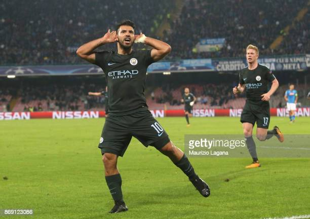 Sergio Aguero of Manchester City celebrates after scoring his team's third goal during the UEFA Champions League group F match between SSC Napoli and...