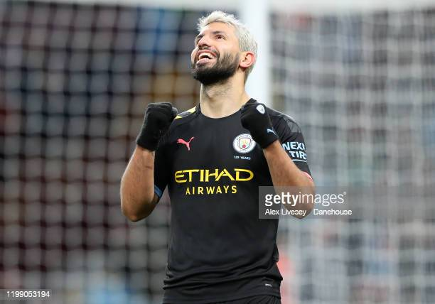 Sergio Aguero of Manchester City celebrates after scoring his third goal and their sixth during the Premier League match between Aston Villa and...