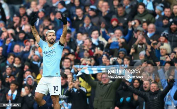 Sergio Aguero of Manchester City celebrates after scoring the second goal during the Premier League match between Manchester City and Chelsea FC at...