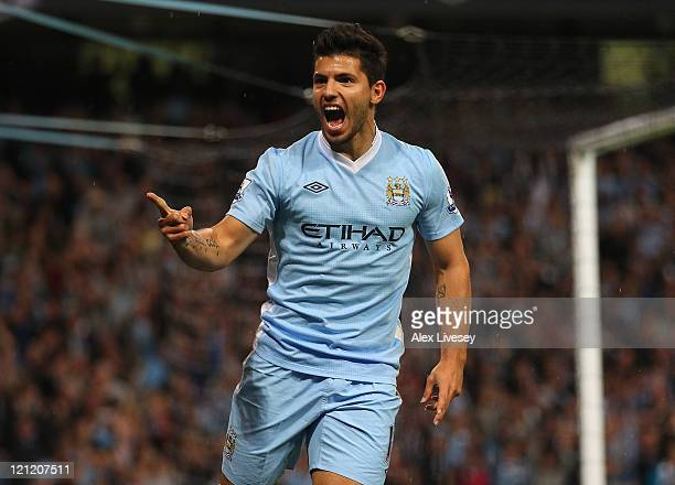 Sergio Aguero of Manchester City celebrates after scoring the second goal during the Barclays Premier League match between Manchester City and...