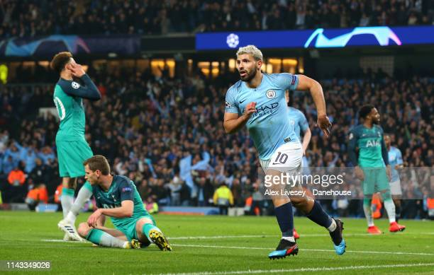 Sergio Aguero of Manchester City celebrates after scoring their fourth goal during the UEFA Champions League Quarter Final second leg match between...