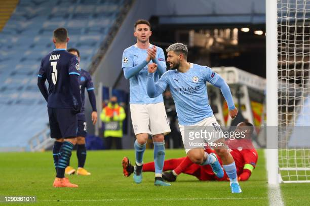 Sergio Aguero of Manchester City celebrates after scoring their team's second goal during the UEFA Champions League Group C stage match between...