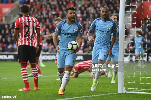 Sergio Aguero of Manchester City celebrates after Vincent Kompany of Manchester City scores Manchester City's first goal during the Premier League...