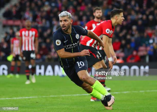 Sergio Aguero of Manchester City celebrates as he scores his team's third goal during the Premier League match between Southampton FC and Manchester...
