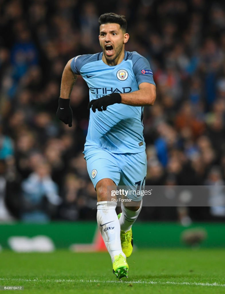 Sergio Aguero of Manchester City (10) celebrates as he scores their second goal during the UEFA Champions League Round of 16 first leg match between Manchester City FC and AS Monaco at Etihad Stadium on February 21, 2017 in Manchester, United Kingdom.
