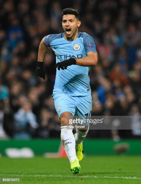 Sergio Aguero of Manchester City celebrates as he scores their second goal during the UEFA Champions League Round of 16 first leg match between...